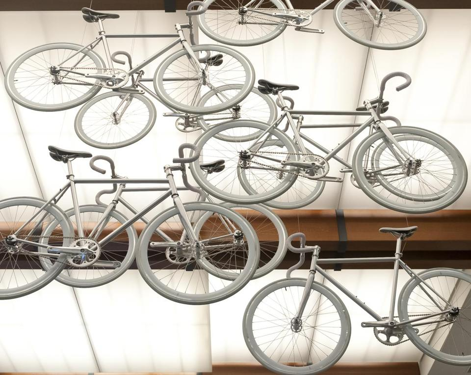 The June opening of a Boston Society of Architects bike exhibition drew hundreds of enthusiastic cyclists.